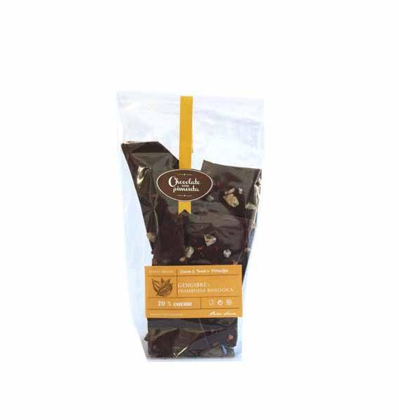 Cacos de Chocolate Negro, 70% Cacau São Tomé e Príncipe com Gengibre e Framboesa Biológica