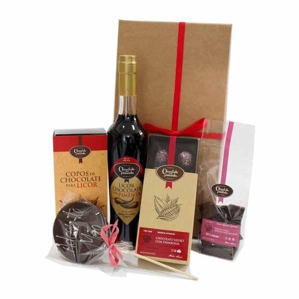 Cabaz de Chocolates e licor de Chocolate com Pimenta
