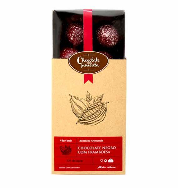 Caixa de bombons de chocolate negro com framboesa